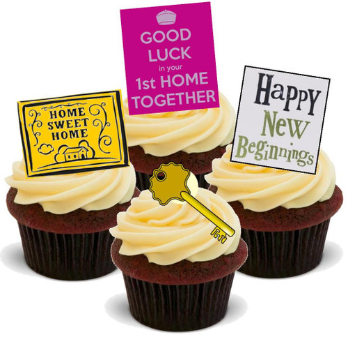 1ST HOME TOGETHER MIX - 12 Edible Stand Up Premium Wafer Cake Toppers