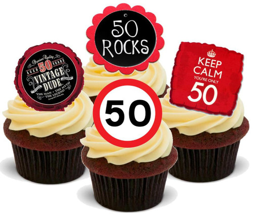 50TH BIRTHDAY MIX RED BLACK - 12 Edible Stand Up Premium Wafer Cake Toppers