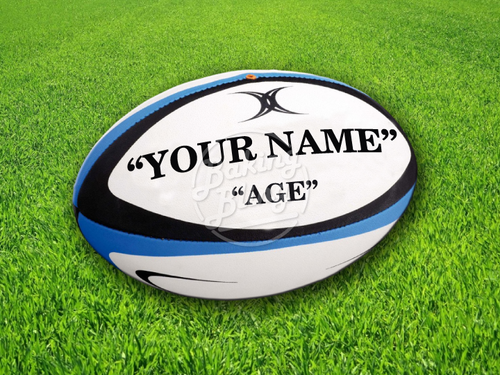 RUGBY BALL PERSONALISED-01 Print Patterned Icing Sheet Cake Topper