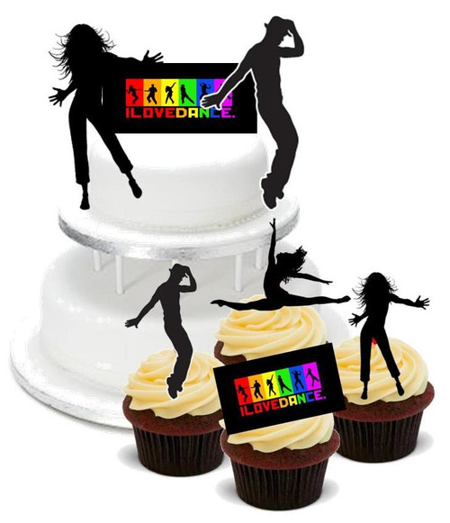 DANCE MIX PACK -   12 Edible Stand Up Premium Wafer Cake Toppers