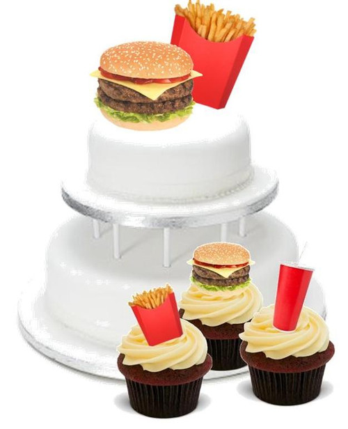 FAST FOOD PACK -   12 Edible Stand Up Premium Wafer Cake Toppers