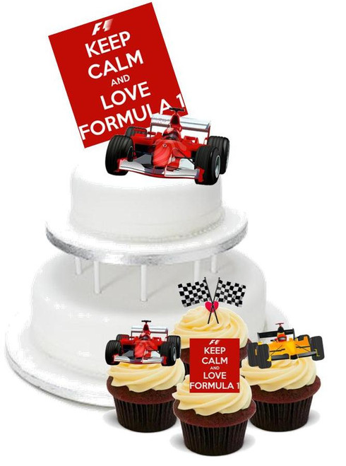 FORMULA 1 PACK -   12 Edible Stand Up Premium Wafer Cake Toppers