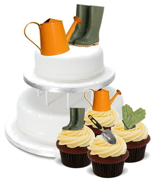 GARDENING MIX PACK -   12 Edible Stand Up Premium Wafer Cake Toppers