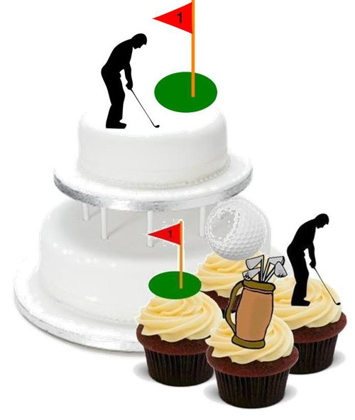 GOLF GOLFER MIX PACK -   12 Edible Stand Up Premium Wafer Cake Toppers