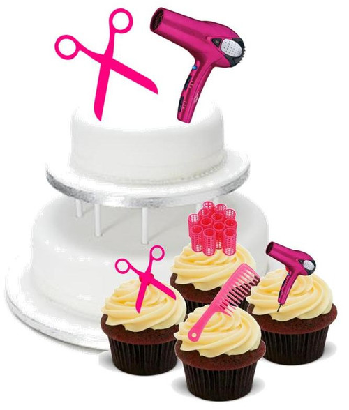 HAIRDRESSING PACK -   12 Edible Stand Up Premium Wafer Cake Toppers