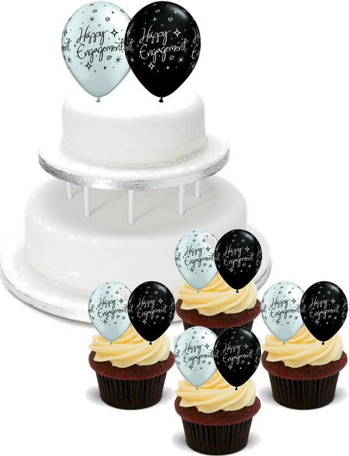 HAPPY ENGAGEMENT BALLOONS PACK -   12 Edible Stand Up Premium Wafer Cake Toppers