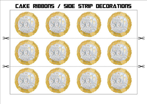 50TH WEDDING ANNIVERSARY CHAMPAGNE BALLOONS CAKE RIBBONS Side Strips Wraparounds