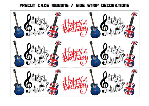 ACOUSTIC GUITAR MUSICAL NOTE BIRTHDAY MIX RIBBONS Side Strips Wraparounds