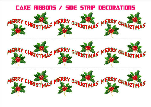 MERRY XMAS HOLLY DESIGN RIBBONS Side Strips Wraparounds
