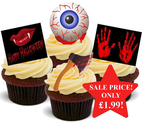 HALLOWEEN Blood Curdling Horror Axe Mix  - 12 Edible Stand Up Premium Wafer Cake Toppers