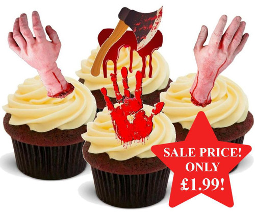 HALLOWEEN Bloody Horror Hand Mix  - 12 Edible Stand Up Premium Wafer Cake Toppers