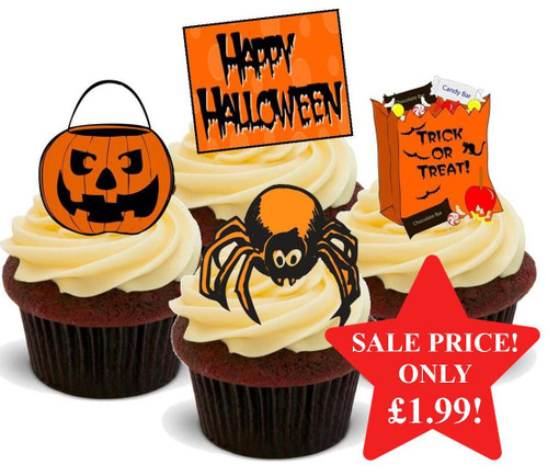 HALLOWEEN Childrens Cute Orange Black Mix  - 12 Edible Stand Up Premium Wafer Cake Toppers