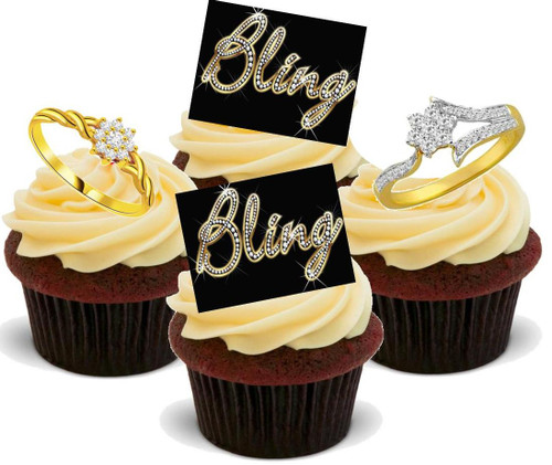 Bling with Diamond Rings Female Mix - 12 Edible Stand Up Premium Wafer Cake Toppers