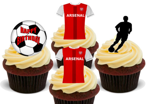 ARSENAL FC Gunners Happy Birthday Football Mix - 12 Edible Stand Up Premium Wafer Card Cake Toppers Decorations