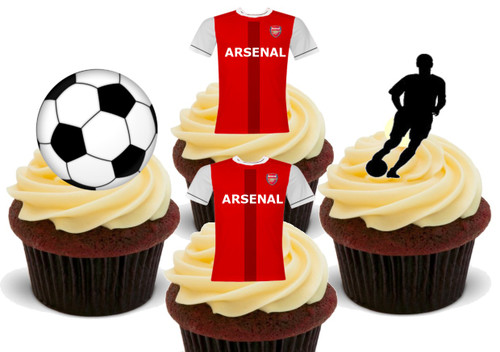 ARSENAL FC Gunners Football Mix - 12 Edible Stand Up Premium Wafer Card Cake Toppers Decorations