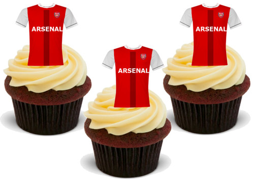 ARSENAL FC Football Shirts - 12 Edible Stand Up Premium Wafer Card Cake Toppers Decorations