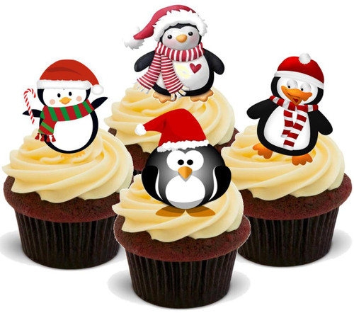 Christmas Penguin Mix- Standups 12 Edible Standup Premium Wafer Cake Toppers