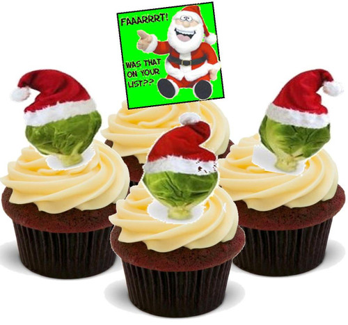 Christmas Brussel Sprout Funny Mix- Standups 12 Edible Standup Premium Wafer Cake Toppers
