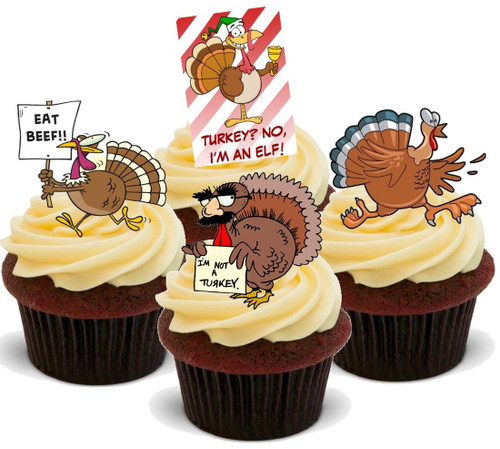 Christmas funny turkey mix- Standups 12 Edible Standup Premium Wafer Cake Toppers