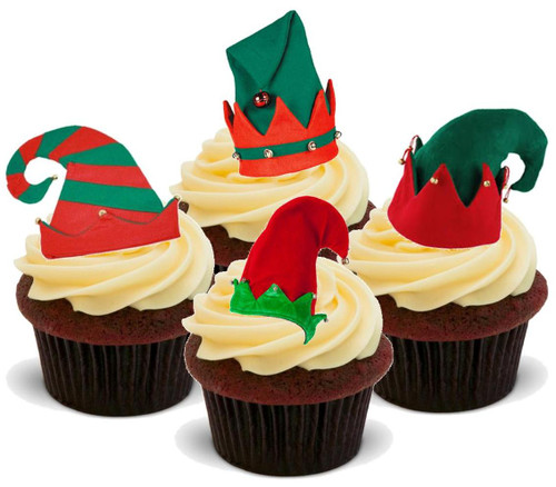 Christmas elves hats mix- Standups 12 Edible Standup Premium Wafer Cake Toppers