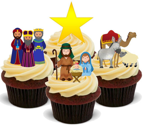 Christmas Nativity Mix- Standups 12 Edible Standup Premium Wafer Cake Toppers
