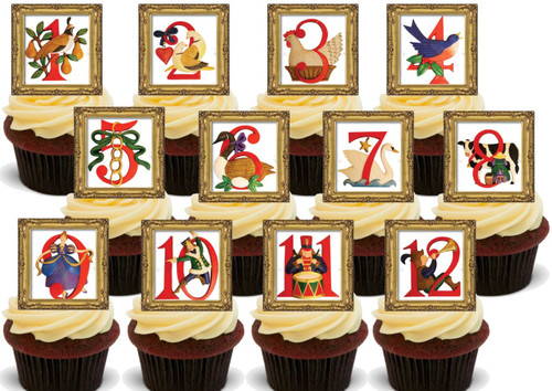 12 days of Christmas framed- Standups 12 Edible Standup Premium Wafer Cake Toppers