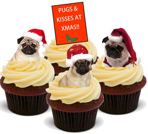 Pugs and kisses at xmas-Standups 12 Edible Standup Premium Wafer Cake Toppers