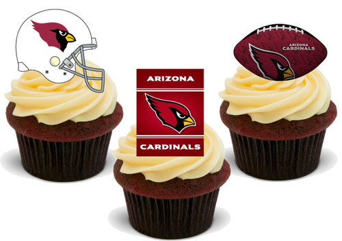 American Football Arizona Cardinals Trio Mix- 12 Edible Stand Up Premium Wafer Card Cake Toppers Decorations