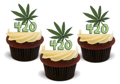 420 Hash Leaf- 12 Edible Stand Up Premium Wafer Card Cake Toppers Decorations