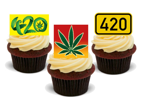 420 Trio Mix- 12 Edible Stand Up Premium Wafer Card Cake Toppers Decorations