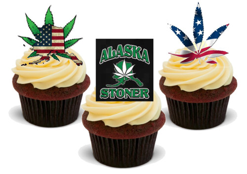 Alaska Stoner Mix - 12 Edible Stand Up Premium Wafer Card Cake Toppers Decorations