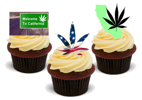 California Stoner Mix-  12 Edible Stand Up Premium Wafer Card Cake Toppers Decorations