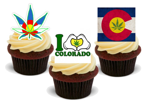 Colorado Weed Stoner Mix-  12 Edible Stand Up Premium Wafer Card Cake Toppers Decorations