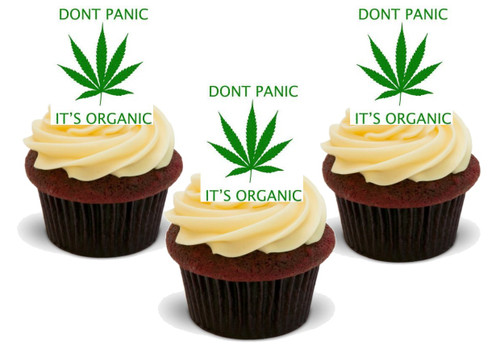 Don't Panic its Organic-  12 Edible Stand Up Premium Wafer Card Cake Toppers Decorations