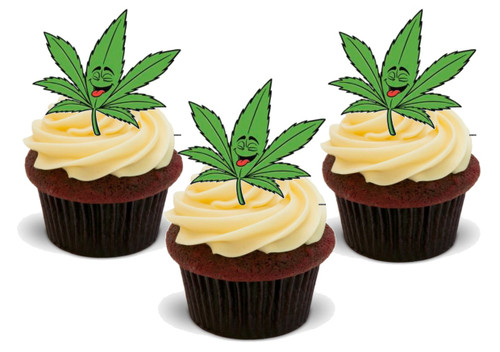 Funny Hash Weed Leaf-  12 Edible Stand Up Premium Wafer Card Cake Toppers Decorations