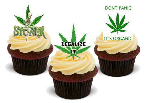 Green Legalize it Stoner its Organic Mix-  12 Edible Stand Up Premium Wafer Card Cake Toppers Decorations