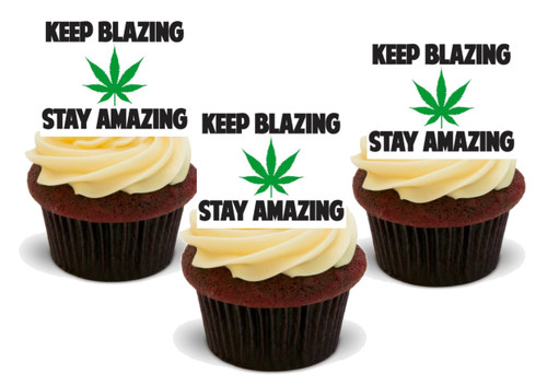 Keep Blazing Stay Amazing-  12 Edible Stand Up Premium Wafer Card Cake Toppers Decorations