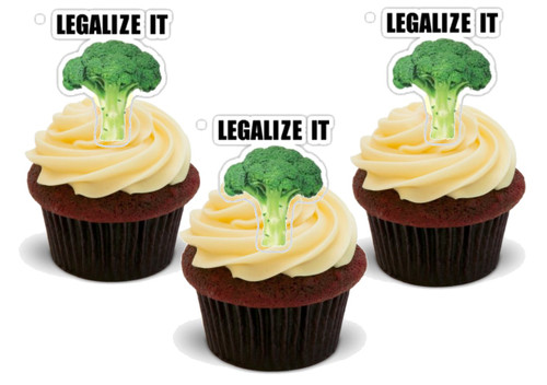 Legalize it Broccoli-  12 Edible Stand Up Premium Wafer Card Cake Toppers Decorations