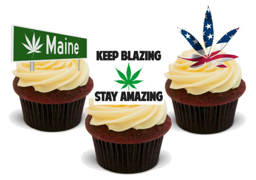 Maine Stoner Weed Mix-  12 Edible Stand Up Premium Wafer Card Cake Toppers Decorations