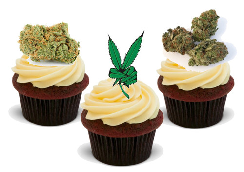 Marijuana Buds And Peace Sign-  12 Edible Stand Up Premium Wafer Card Cake Toppers Decorations
