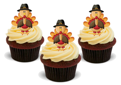 Happy Thanksgiving Autumn Turkey in Hat-  12 Edible Stand Up Premium Wafer Card Cake Toppers Decorations