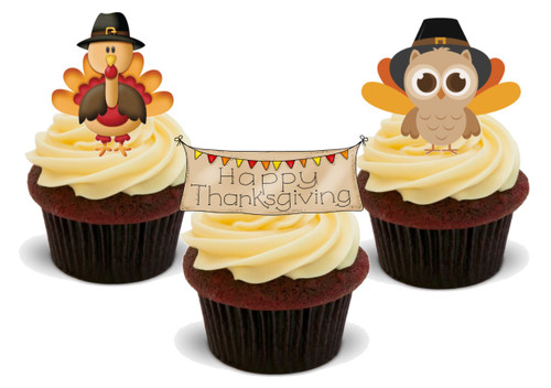 Happy Thanksgiving Turkey Owl Banner Trio Mix-  12 Edible Stand Up Premium Wafer Card Cake Toppers Decorations