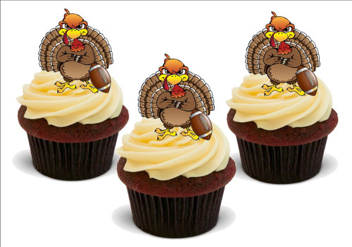 Happy Thanksgiving Football Turkey -  12 Edible Stand Up Premium Wafer Card Cake Toppers Decorations