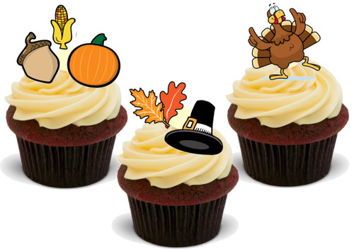 Happy Thanksgiving Turkey Harvest Mix-  12 Edible Stand Up Premium Wafer Card Cake Toppers Decorations