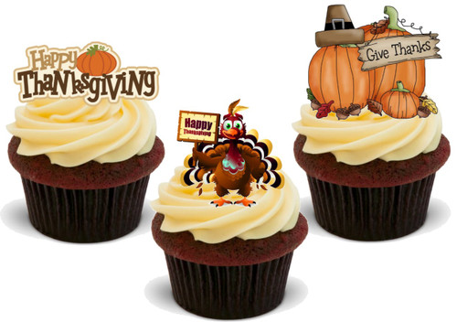 Happy Thanksgiving Turkey Pumpkin Trio Mix-  12 Edible Stand Up Premium Wafer Card Cake Toppers Decorations