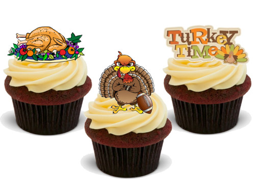 Happy Thanksgiving Turkey Time Trio Mix-  12 Edible Stand Up Premium Wafer Card Cake Toppers Decorations
