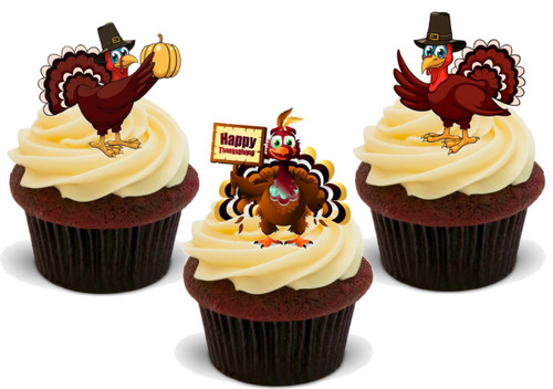 Happy Thanksgiving Turkey Trio Mix-  12 Edible Stand Up Premium Wafer Card Cake Toppers Decorations