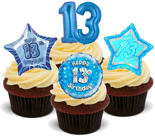 13th birthday boy blue mix-  12 Edible Stand Up Premium Wafer Card Cake Toppers Decorations