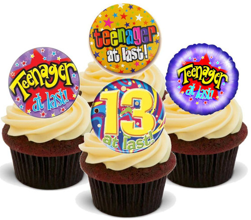 13th Birthday Teenager at last mix-  12 Edible Stand Up Premium Wafer Card Cake Toppers Decorations