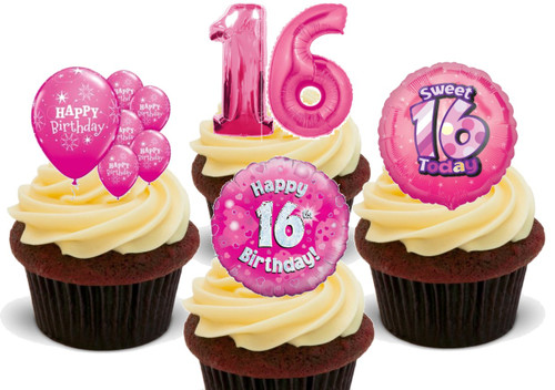 16th Birthday Mix B-  12 Edible Stand Up Premium Wafer Card Cake Toppers Decorations